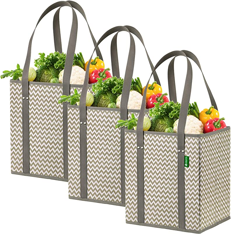 Reusable Grocery Shopping Box Bags 3 Pack Chevron Stylish Premium Quality Heavy Duty Tote Set With Extra Long Handles Reinforced Bottom Foldable Collapsible Durable And Eco Friendly