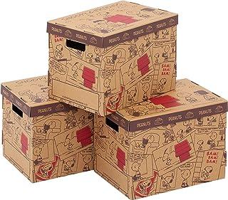 アストロ スヌーピー 収納ボックス 3個組 A4変形(女性誌サイズ)対応 日本製 段ボール 書類 収納ケース 組み立て式 メモ欄あり 底板・フタ付き 900-31