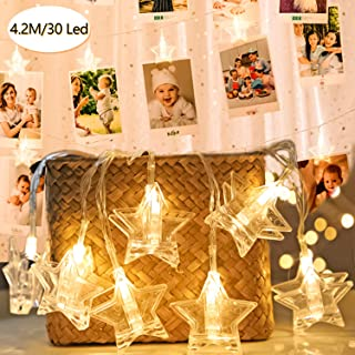 JuguHoovi Guirnalda de Luces Led para Fotos Clip Cadena de Luces LED 30 Fotoclips para Colgar Fotos Cadena Luces para Habitaciones,Bodas,Cumpleaños,Navidad Decoración