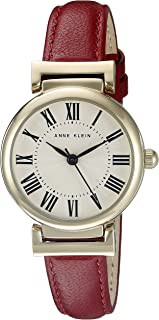 Women's AK/2246CRRD Gold-Tone and Red Leather Strap Watch