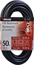 Woods 982452 50-Foot SJTOW Agricultural Outdoor Heavy Duty All- Weather Extension Cord, Oil Resistant Vinyl Jacket, Versatile Use, Powerful 15 Amps, 125 Volts, 1,875 Watt Extension Cord, Black