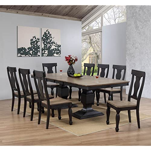 Kings Brand Alleyton 9 Piece Charcoal Oak Wood Dining Room Set Extendable Table