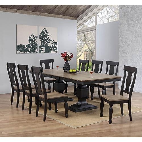 Kings Brand Alleyton 9 Piece Charcoal U0026 Oak Wood Dining Room Set,  Extendable Table U0026