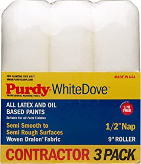 "Purdy GIDDS-800630 Roller Covers White Dove 9"" x 1/2"" Nap, 9 inch 3 Pack"