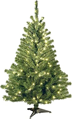 National Tree Company Pre-lit Artificial Christmas Tree | Includes Pre-strung White Lights | Kincaid Spruce - 4 ft