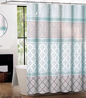 Max Studio Fabric Shower Curtain Light Green and Gray Stamped Patch