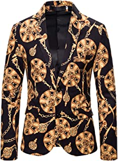 Men's Slim Fit Printed Suit Jacket Two Buttons Peak Lapel Prom Party Tuxedos Blazer Performance Coat Spring Winter Wear