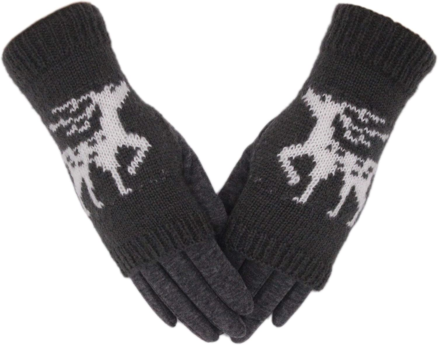Tomily Winter Knit Warm Gloves For Women Touchscreen Texting Elk Gloves Thick Cotton Fingerless + Full 2-in-1