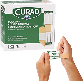 Curad - NON26500QS Quick Strip Plastic Adhesive Bandages with Easy Application Wrapper, Bandage Size is 1 x 3 inches, 100 Count