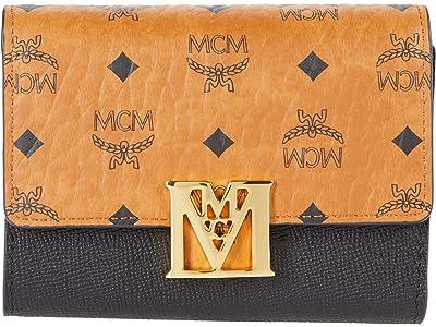 MCM Mena Visetos Leather Block Flap Wallet/Trifold Small (Black) Handbags