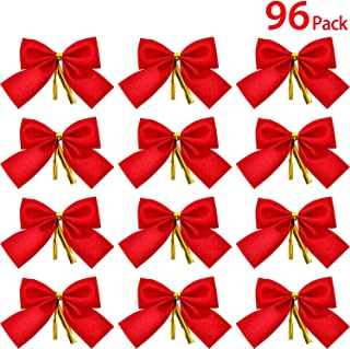 WILLBOND 96 Packs Red Mini Velveteen Christmas Bow Decorations for Christmas Tree, 3.15 Inch Xmas Tree Ornaments Party Gift DIY Décor
