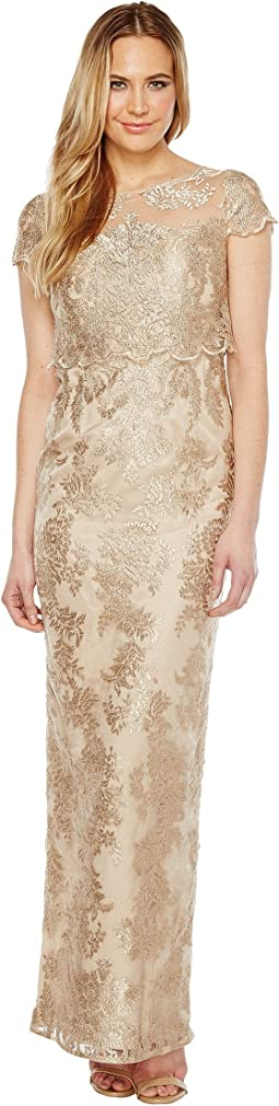 Adrianna Papell Pop Over Embroidered Gown