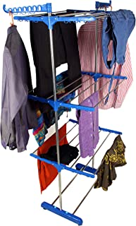 SUNDEX Heavy Duty Stainless Steel Single Pole Foldable Cloth Dryer/Clothes Drying Stand (Dark blue-3TS)