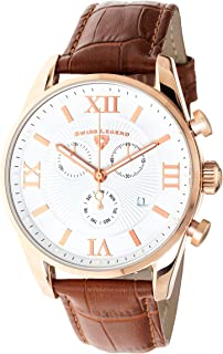 Swiss Legend Men's Belleza Analog Swiss Quartz Watch White Dial and Rose Gold Stainless Steel Case with Brown Leather Strap 22011-RG-02-BR