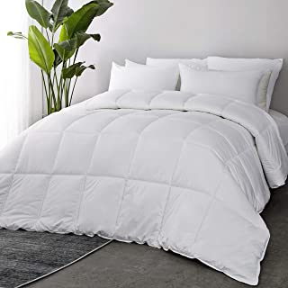 Bedsure 100% Cotton Shell All-Season Down Alternative Comforter Queen with Corner Tabs - 60OZ Lightweight&Fluffy Plush Microfiber Fill in Whole Piece, Machine Washable with No Clumping Duvet Insert