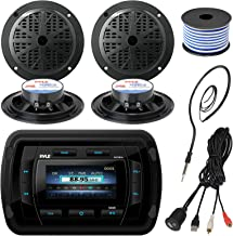 Pyle PATVR14 MP3/MP5 Bluetooth Marine Boat Yacht Stereo Receiver Bundle Combo with 4X Black 5-1/4'' Dual Cone Waterproof Stereo Speaker + Enrock Radio Antenna + USB/AUX to RCA Cable +18G 50-FT Wire