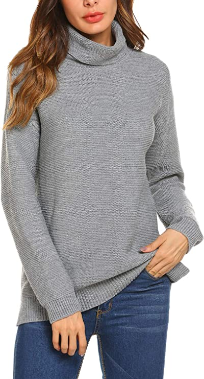 SoTeer Womens Turtleneck Pullover Sweaters Long Sleeve Loose Side Slit Knitted Jumpers Tops