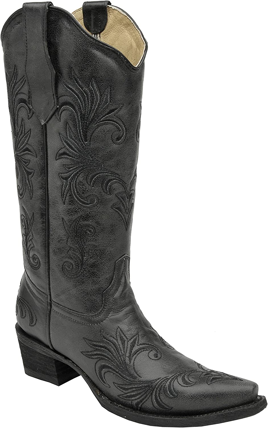 Corral Women's Circle G Black Filigree Embroidered Western Boot