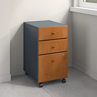 Bush Business Furniture Series A 3 Drawer Mobile File Cabinet, Natural Cherry/Slate