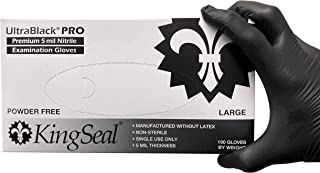 KingSeal UltraBlack-PRO Large Nitrile Medical Grade Exam Gloves, Latex Free, 5 MIL, Textured Fingertips - 10 Boxes of 100 ...