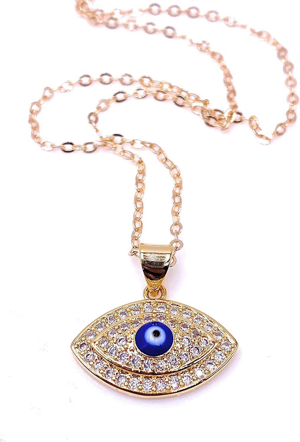 Mava Art CZ Evil Eye Pendant Necklace 18K Gold Plated Chain Protection Jewelry for Women