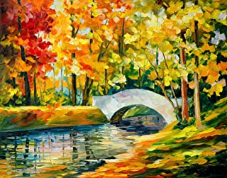 Art Street Little Stream with Blooming Flowers Landscape Canvas Painting (26x34 inch, Multicolour)