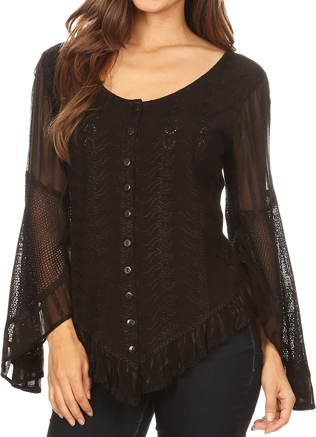 Sakkas Marga Womens Button Down Long Sleeve Top Blouse Shirt Lace Solid Simple