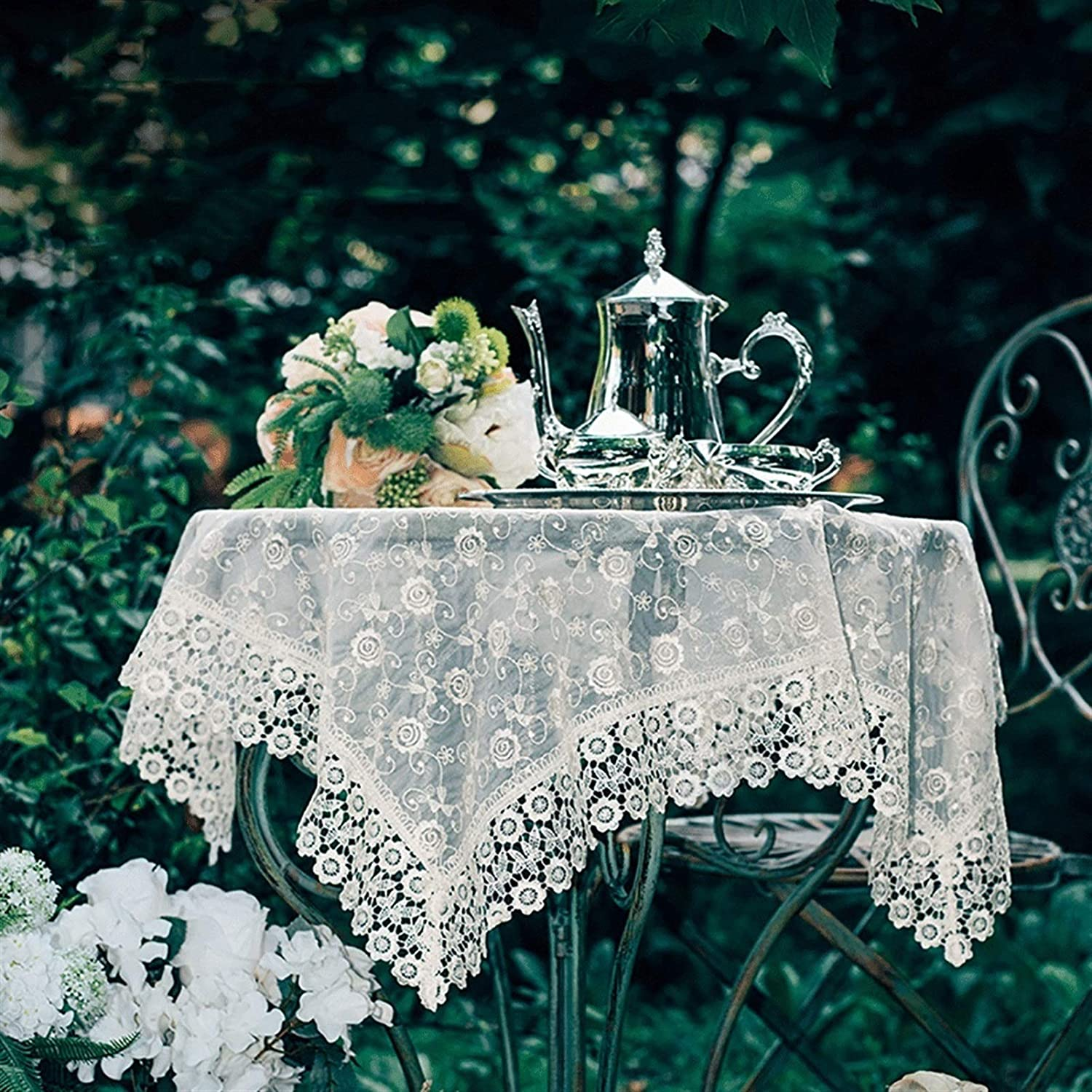 Rectangular Round Lace Regular discount Tablecloth G Inventory cleanup selling sale Tablecloths White