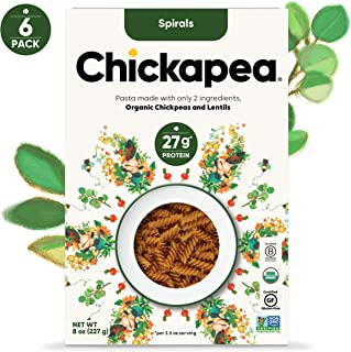 Chickapea Organic Chickpea Lentil Pasta - Spirals - High Protein Gluten Free Healthy Fusilli Pasta - 8oz each (6 Pack)
