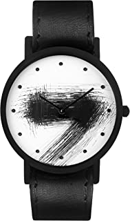 South Lane Stainless Steel Swiss-Quartz Watch with Leather Calfskin Strap, Black, 20 (Model: SS20-dr1-4809)