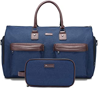 Convertible Garment Bag with Toiletry Bag, Modoker Carry on Garment Duffel Bag for Men Women - 2 in 1 Hanging Suitcase Suit Travel Bags, Blue