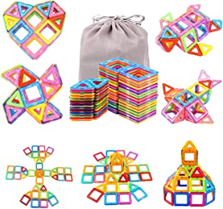 Magnetic Blocks Building Set for Kids, Magnetic Tiles Educational Building Construction Toys for Boys & Girls with Storage...