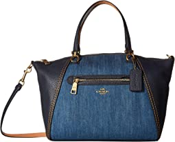 Denim and Leather Blocked Prairie Satchel