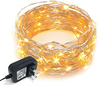 RTGS 100 LEDs String Lights Plug-in on 32 Feet Long Silver Color Wire, Indoor Outdoor Use (Warm White Color 100 LEDs 32 FEET)