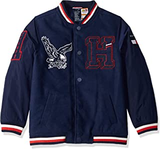 Tommy Hilfiger Boys' Adaptive Varsity Jacket with Adjustable Shoulder Closure