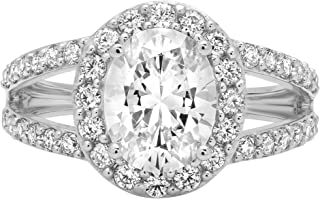 2.24 ct Oval Cut Solitaire with Accent Halo split shank Best Quality Moissanite Ideal VVS1 D & Simulated Diamond Engagement Promise Statement Anniversary Bridal Wedding Ring Solid 14k White Gold