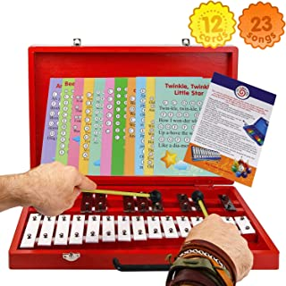 Glockenspiel 25-Note Chromatic Xylophone - Wooden Case - Song Card Set