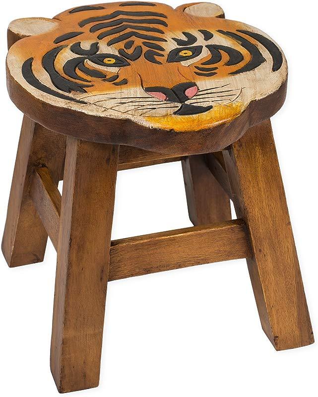 Tiger Design Hand Carved Acacia Hardwood Decorative Short Stool