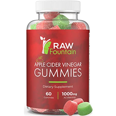 Raw Fountain Apple Cider Vinegar Gummies 1000mg, All Natural ACV Gummy Supplement with The Mother, Elderberry, Ginger and Turmeric, Supports Immunity, Detox and Weight Loss, 60pcs