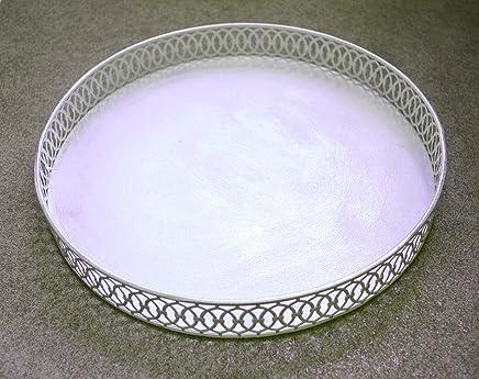 Preisvergleich für Deko Tablett rund Metall ca. 29cm Durchmesser weiß grau Landhausstil Shabby Antik edel