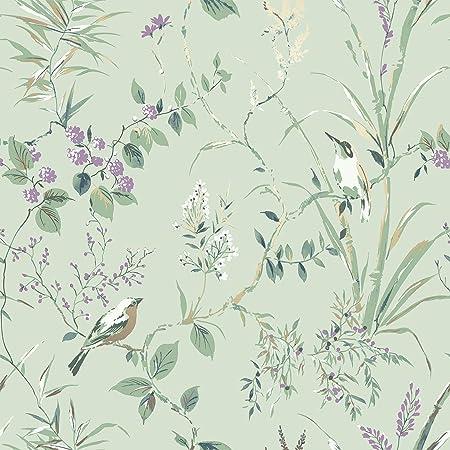 Crown M1552 Mariko Mint/Plum Wallpaper