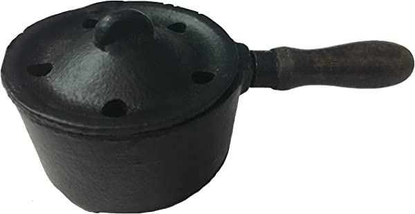 Vrinda Cast Iron Charcoal Burner Pan Type With Cover And Wooden Handle