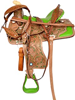 Manaal Enterprises Premium Leather Western Barrel Racing Adult Horse Saddle Tack, Size 16