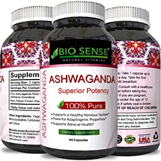Pure Ashwagandha Extract and Root Capsules Ginseng Herbal Vitamin Complex Pill for Improved Relaxation and Better Sleep with Mood Immune Muscle Boosting Benefits Plus Memory Height and Adrenal Support