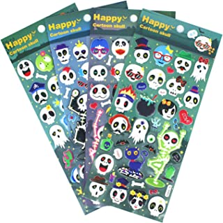 HighMount Halloweens Skull Stickers 4 Sheets with Pirates, Ghost and Bones Faces for Jack O Lantern Decorations Scrapbooking Kids Party Favors