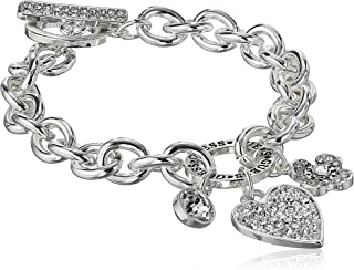 GUESS Women's Chunky Chain Toggle Close Bracelet with Paved Heart Charm
