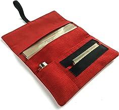 Funda para tabaco de liar de tela color rojo, Pitillera artesana para fumador