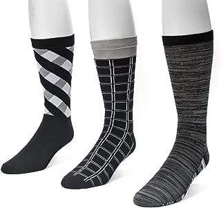 Muk Luks Men's 3 Pack Geometric Crew Socks