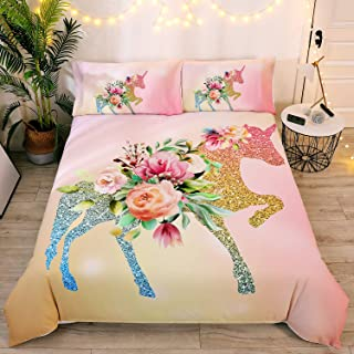DEERHOME Floral Unicorn Bedding Girls Unicorn Pink Roses Duvet Cover 3 Pieces Green Fantasy Glittery Horse Bed Set,King Size