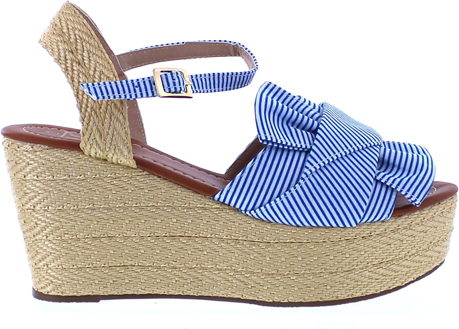 Maker's shoes Womens Espadrille Platform Wedge Heel Peep Toe Ankle Strap (10, bluee Stripes)